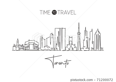 One single line drawing of Toronto city skyline, Canada. World historical town landscape. Best holiday destination home wall decor poster print. Trendy continuous line draw design vector illustration 71200072