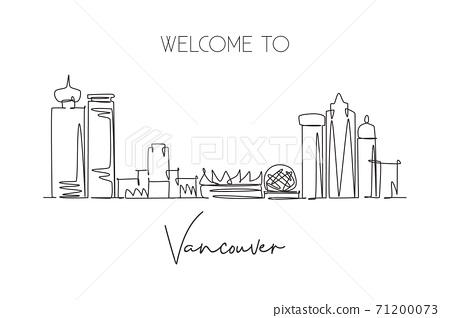 Single continuous line drawing city Vancouver skyline, Canada. Famous city scraper landscape postcard. World travel destination concept. Editable stroke modern one line draw design vector illustration 71200073