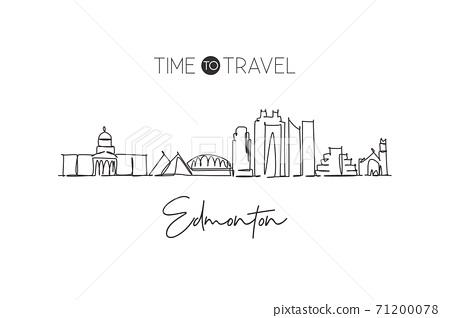 One continuous line drawing of Edmonton city skyline, Canada. Beautiful landmark wall decor poster print. World landscape tourism travel vacation. Stylish single line draw design vector illustration 71200078