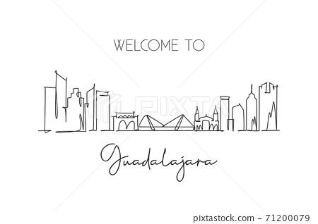 One continuous line drawing Guadalajara city skyline, Mexico. Beautiful landmark postcard. World landscape tourism travel vacation. Editable stylish stroke single line draw design vector illustration 71200079