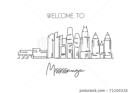 One single line drawing Mississauga city skyline Canada. World historical town landscape. Best place holiday destination home wall decor poster print. Continuous line draw design vector illustration 71200326