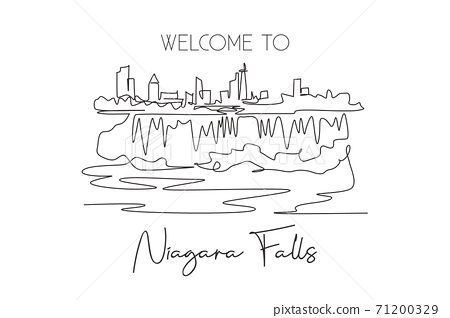 One continuous line drawing Niagara Falls skyline, Canada. Beautiful nature landmark postcard art. World landscape tourism travel vacation. Editable stroke single line draw design vector illustration 71200329