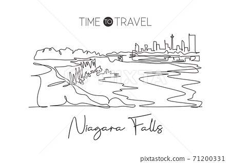 Single continuous line drawing of Niagara Falls skyline, Canada. Famous nature landscape home decor art poster print. World travel destination concept. Modern one line draw design vector illustration 71200331