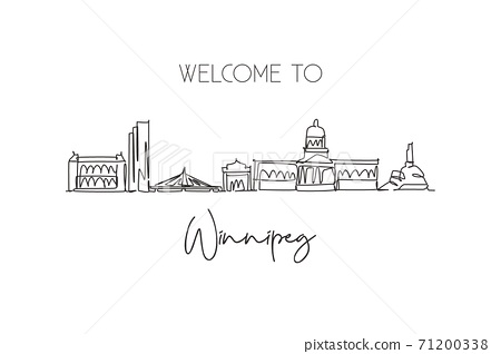 One single line drawing Winnipeg city skyline, Canada. World historical town landscape. Best place holiday destination postcard. Editable stroke trendy continuous line draw design vector illustration 71200338
