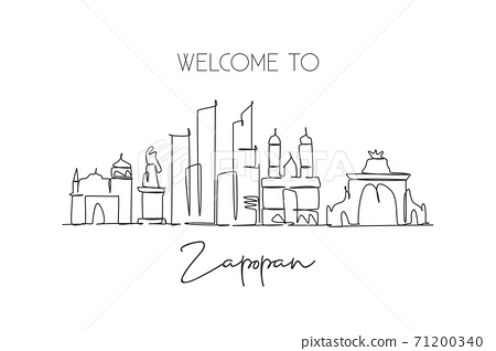 One continuous line drawing Zapopan city skyline Mexico. Beautiful landmark postcard print. World landscape tourism travel vacation. Editable stylish stroke single line draw design vector illustration 71200340