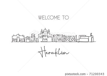 One continuous line drawing of Heraklion city skyline, Greece. Beautiful landmark postcard. World landscape tourism travel vacation. Editable stylish stroke single line draw design vector illustration 71200343