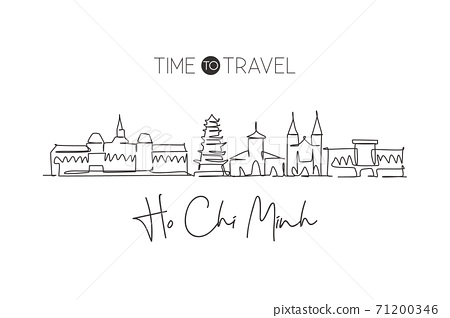One single line drawing Ho Chi Minh city skyline, Vietnam. World town landscape home decor wall art poster print. Best place holiday destination. Trendy continuous line draw design vector illustration 71200346