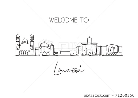 One continuous line drawing Limassol city skyline, Cyprus. Beautiful landmark postcard. World landscape tourism and travel vacation. Editable stylish stroke single line draw design vector illustration 71200350