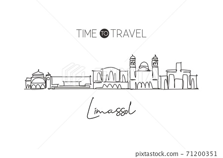 Single continuous line drawing Limassol skyline, Cyprus. Famous city scraper landscape. World travel destination home wall decor poster print concept. Modern one line draw design vector illustration 71200351