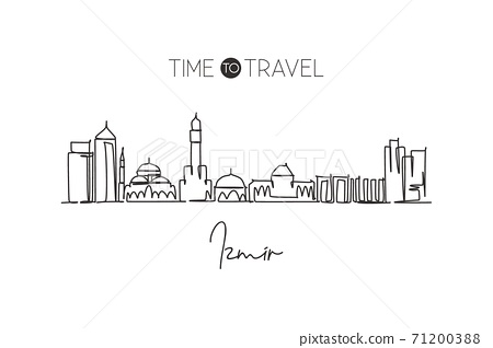 One continuous line drawing of Izmir city skyline, Turkey. Beautiful landmark postcard. World landscape tourism and travel vacation. Editable stylish stroke single line draw design vector illustration 71200388