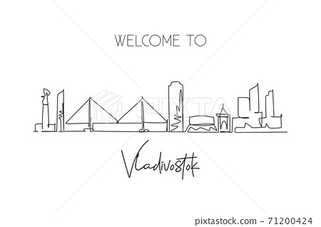 One single line drawing of Vladivostok city skyline, Russia. World town landscape postcard. Best place holiday destination. Editable stroke trendy continuous line draw design art vector illustration 71200424