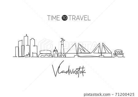 One continuous line drawing Vladivostok city skyline, Russia. Beautiful landmark home decor poster print. World landscape tourism travel vacation. Stylish single line draw design vector illustration 71200425