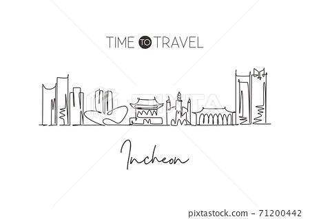 One single line drawing city Incheon skyline, South Korea. World town landscape home wall decor poster print art. Best place holiday destination. Trendy continuous line draw design vector illustration 71200442