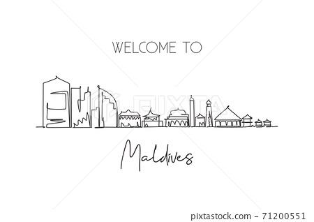Single continuous line drawing Male skyline, Maldives. Famous city scraper landscape postcard print. World travel destination concept. Editable stroke modern one line draw design vector illustration 71200551