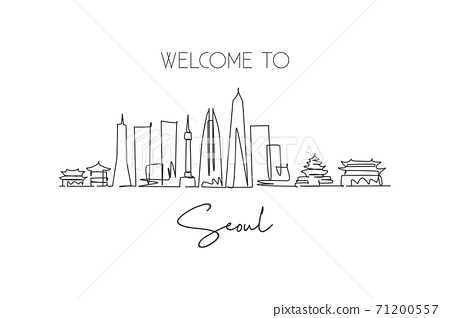 One single line drawing of Seoul city skyline, South Korea. World town landscape postcard print. Best place holiday destination. Editable stroke trendy continuous line draw design vector illustration 71200557