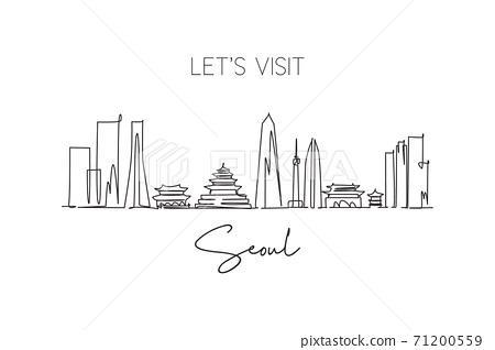 Single continuous line drawing Seoul skyline, South Korea. Famous city scraper landscape wall decor poster print art. World travel destination concept. Modern one line draw design vector illustration 71200559