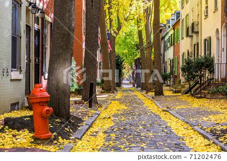 Autumn alleyway in Philadelphia, Pennsylvania, USA 71202476