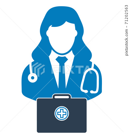 Doctor  icon with medicine box. Flat style vector EPS. 71202563