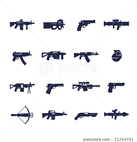 guns and weapons icons, rifles, pistols 71204791