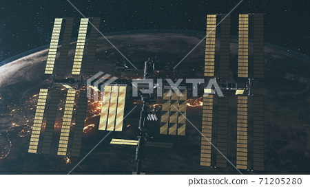 Gravity fly of International Space Station, huge solar panels at rotating Earth planet background 71205280