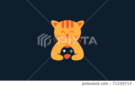animal pets cat kitty kitten with stick game cute logo vector icon design 71209714
