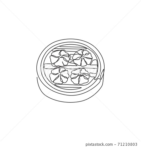 One single line drawing of fresh Chinese dumpling logo graphic vector illustration. Asian mantou food cafe menu and restaurant badge concept. Modern continuous line draw design street food logotype 71210803