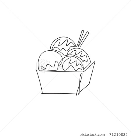 Single continuous line drawing of stylized Japanese takoyaki ball logo label. Emblem seafood restaurant concept. Modern one line draw design vector illustration for cafe, shop or food delivery service 71210823