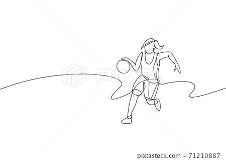 Single continuous line drawing of young healthy basketball female player dribbling. Competitive sport concept. Trendy one line draw design vector illustration for basketball tournament promotion media 71210887