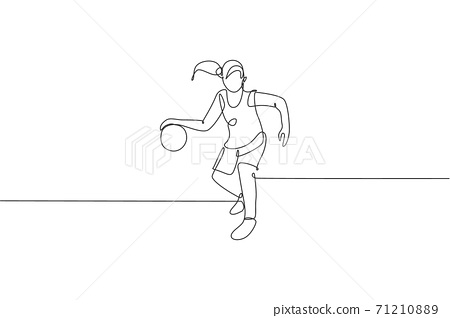 One continuous line drawing of young basketball player running at court. Team sport concept. Dynamic single line draw design vector illustration for basketball championship match publication poster 71210889