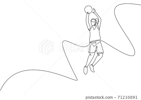 One single line drawing of young energetic basketball player jumping and shooting ball vector illustration. Healthy sport concept. Modern continuous line draw design for basketball tournament banner 71210891