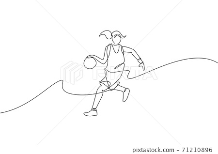 One continuous line drawing of young agile basketball woman player dribbling the ball. Teamwork competitive sport concept. Dynamic single line draw design vector illustration for tournament poster 71210896