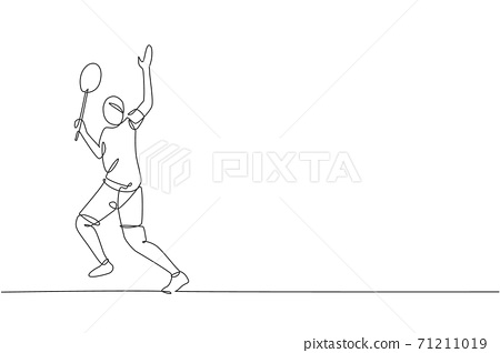 Single continuous line drawing of young agile badminton player hit shuttlecock. Competitive sport concept. Trendy one line draw design vector illustration for badminton tournament publication media 71211019