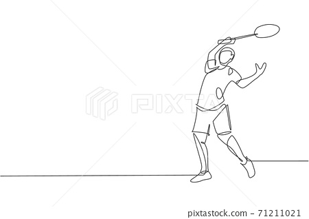 One continuous line drawing of young badminton player defense to take opponent hit with racket. Competitive sport concept. Dynamic single line draw design vector illustration for tournament poster 71211021