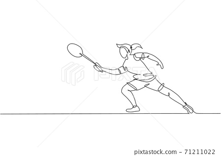 Single continuous line drawing young agile badminton player hit shuttlecock. Sport exercise concept. Trendy one line draw design vector illustration graphic for badminton tournament publication media 71211022