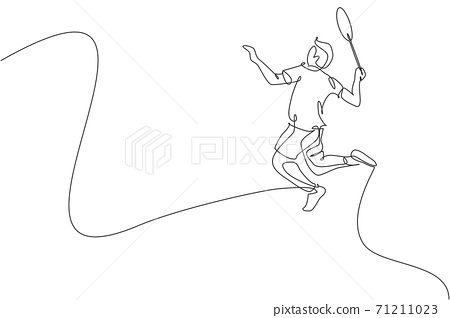 One single line drawing of young energetic badminton player jumping and smash shuttlecock vector illustration. Healthy sport concept. Modern continuous line draw design for badminton tournament poster 71211023