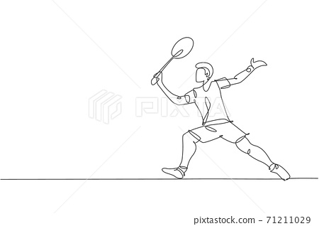 One single line drawing young energetic badminton player take a hit from opponent graphic vector illustration. Healthy sport concept. Modern continuous line draw design for badminton tournament poster 71211029