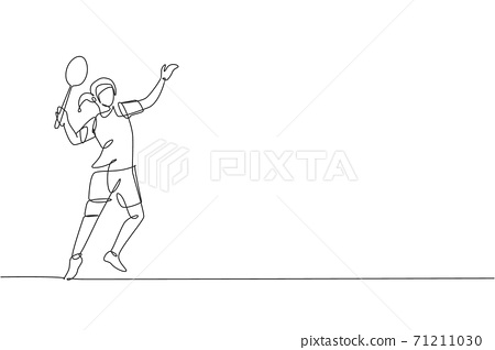 One single line drawing young energetic badminton player ready to hit shuttlecock vector graphic illustration. Healthy sport concept. Modern continuous line draw design for badminton tournament poster 71211030