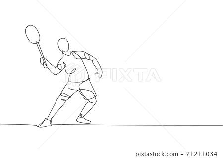 One single line drawing of young energetic badminton player jumping and smash shuttlecock vector illustration. Healthy sport concept. Modern continuous line draw design for badminton tournament poster 71211034