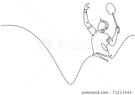 One single line drawing of young energetic man badminton player hit smashing shuttlecock vector illustration. Healthy sport concept. Modern continuous line draw design for badminton tournament poster 71211044