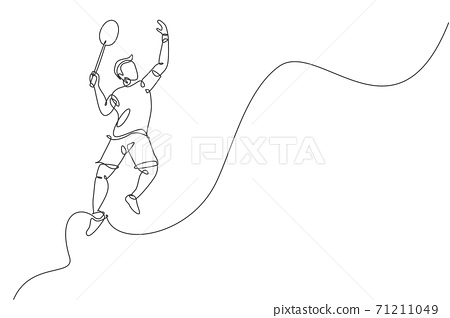 Single continuous line drawing young agile badminton player jumping smash shuttlecock. Competitive sport concept. One line draw design graphic vector illustration for badminton tournament publication 71211049