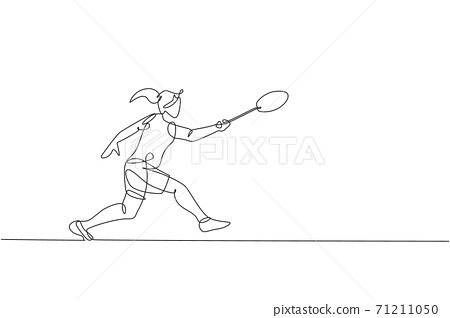 One continuous line drawing of young badminton player hit shuttlecock with racket. Competitive sport concept. Dynamic single line draw design vector illustration for tournament match promotion poster 71211050