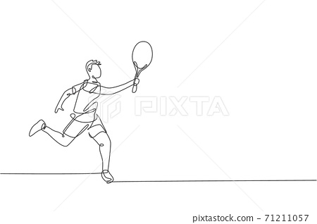 Single continuous line drawing of young agile man tennis player defense and hold the ball. Sport exercise concept. Trendy one line draw design vector illustration for tennis tournament promotion media 71211057