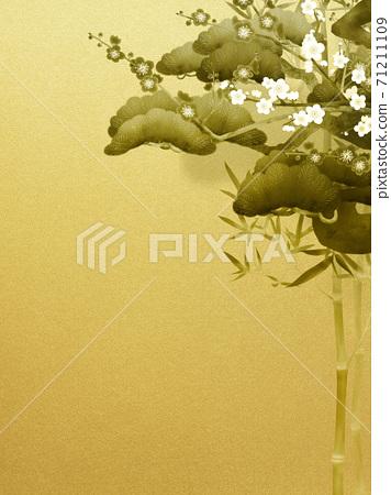 松竹梅을 그린 금색 배경 - 여러 종류가 있습니다 71211109