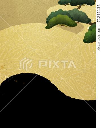 소나무와 파도를 표현한 일본식 배경 - 여러 종류가 있습니다 71211138
