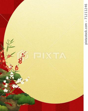 빨간 체크 무늬와 송죽매의 경사스러운 배경 71211246