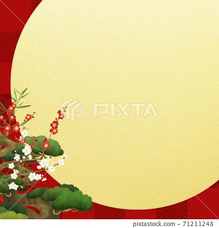 祝賀紅色格仔圖案和松枝梅 71211248