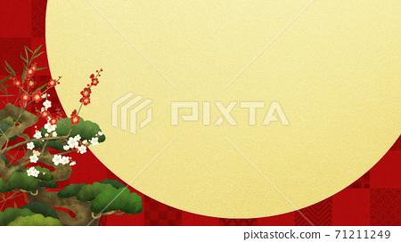 빨간 체크 무늬와 송죽매의 경사스러운 배경 71211249