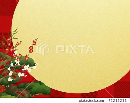 빨간 체크 무늬와 송죽매의 경사스러운 배경 71211251