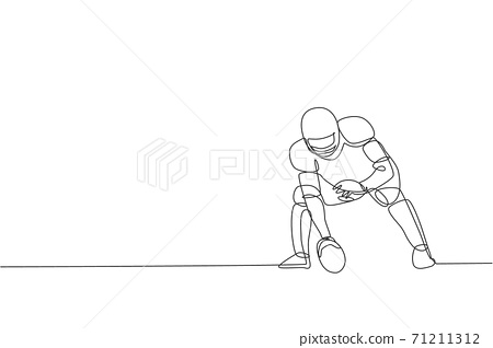 One single line drawing of energetic american football player stance to pass the ball for national league promotion. Sport competition concept. Modern continuous line draw design vector illustration 71211312