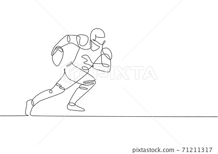 One continuous line drawing sporty american football player running fast to reach goal line for competition poster. Sport teamwork concept. Dynamic single line draw design vector graphic illustration 71211317